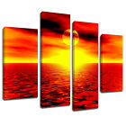 MSC068 Orange Ocean Sunset Canvas Wall Art Multi Panel Split Picture Print