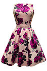 Lady V London Vintage Violet English Rose Tea Dress Rockabilly Pinup 50's