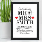 PERSONALISED First Wedding Anniversary Gifts 1st Anniversary Present 1 Year
