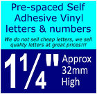 "QTY of: 13 x 1¼"" 32mm HIGH STICK-ON  SELF ADHESIVE VINYL LETTERS & NUMBERS¼"