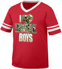 I Love Redneck Boys Heart Country Men South Camo Trailer Men's V-Neck Ringer Tee