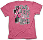 Christian T-Shirt FAITH HOPE CURE JESUS Cherished Girl Kerusso Womens Cross Pink