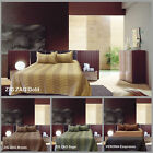 3 Pce QUEEN Zig Zag Verona FAUX SILK Quilted Bedspread / Coverlet + 2Pillowcases
