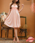Sexy Peach Chemise Floral Nightie Lady Nightwear Lingerie Nightdress Sleepwear