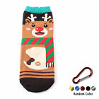 1 Pair Womens Cartoon Xmas Santa Claus Christmas Style Socks+Carabiner R