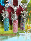 FAIRY DUST GLITTER BOTTLE NECKLACE PINK LILAC GREEN BLUE CHARM GLASS PENDANT