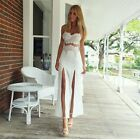 2017 New Season Summer Beach Lace Cocktail Party Maxi Dress White Black S M L