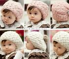 Cute Winter Kids Knit Crochet Beanie Hat Cap For Baby Girls Toddler Faux Fur Z