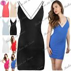 Womens Ladies Camisole Plunge Strappy Cross Back Bodycon Mini Dress Plus Size