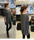 Womens V Neck Stretch Tops Long Sleeve T-Shirt Loose Blouse Plus Size Fashion