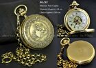 Men Women Collection Antique Steampunk Full Copper Mechanical FOB Pocket Watch