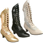 "FUNTASMA DAME-115 Women Pu Lace Shoe Steampunk Victorian Mid Calf Boot 2"" Heel"