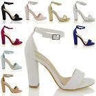 WOMENS BLOCK HEEL ANKLE STRAP SANDALS LADIES PEEP TOE STRAPPY PARTY SHOES 3-8