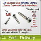 M8 A4 Stainless Steel MARINE GRADE SOCKET CAP Screws Allen Key Bolts SMALL QTY