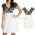 Summer Cross Over Front Lace Swing V-Neck Evening Party Cocktail Skater Dress SF