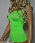 UV FLO GREEN LYCRA BOOB TUBE LONG TOP STRAPLESS BANDEAU CLUB HOLIDAY PARTY W699