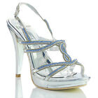 NEW WOMENS LADIES HIGH HEEL SILVER  EVENING PARTY SANDALS SHOES SIZE 4 5 6 7 8