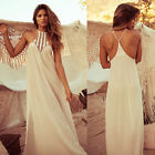 Boho Womens Lace Chiffon Halter Backless Summer Beach Long Evening Party Dresses