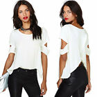 2015 Plus Size 3 Colors Cut-out Shoulder Shirt Chiffon Blouse Tops Hollow Back