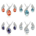 Hot Design 18K White Gold Plated Drop Earrings and Necklace Jewelry Wedding Set