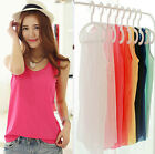 Hot Womens Chiffon Sleeveless Crew Neck Loose Vest Tank T-Shirt Blouses Tops WY