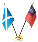 Scotland & Myanmar (old) Double Friendship Table Flags & Badge Set