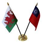 Wales & Myanmar (old) Double Friendship Table Flags & Badge Set