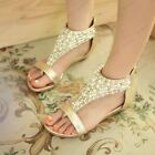 Bohemia Womens Ladies Low Heel Pearls Deco Roman Wedges Sandals Shoes Sz NC0007