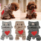 Dog Pet Puppy Warm Winter Clothes Love Bear Fleece Hoodie Jumpsuit Hooded Coat