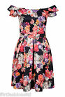Ladies Floral Off Shoulder Skater Dress Short Sleeves Plie Elegant Unique Trendy