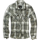 BRANDIT CASUAL CHECK SHIRT MENS COTTON WORK LONG SLEEVE VINTAGE FLANNEL OLIVE