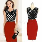 Fashion Women Belt Dot Slim Bodycon Pencil Dress Business Evening Cocktail Party