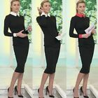 Women Lady Long Sleeve Slim Bodycon Stretch Pencil Dress Cocktail Party Evening