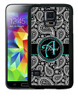 PERSONALIZED RUBBER CASE FOR SAMSUNG NOTE 3 4 5 BLACK TEAL PAISLEY