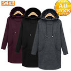 Women Hooded Long Pullover SweaterJacket Coat Overcoat Casual Slim Fit Trench
