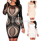 Summer Sexy Lace Nude Illusion Long Sleeves Cocktail Party Club Bodycon Dress SF