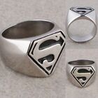Punk Jewelry Stainless Steel Superman Superhero Symbol Finger Ring For Men Biker