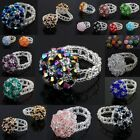 Multicolor Crystal Glass Seed Bead Handwork Braided Mushroom Flower Finger Rings