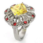 Women Ring Stainless Steel Square Crystal Citrine Yellow Engagement US Seller