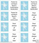 40 x Personalised Boys Communion/confirmation labels/stickers/cake/sweet/bag