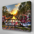 C455 Amsterdam Bicycle Bridge Canvas Wall Art Ready to Hang Picture Print