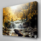 C438 Waterfall Pool Tide Yellow Canvas Art Ready to Hang Picture Print