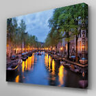 C375 Amsterdam Canal Canvas Wall Art Ready to Hang Picture Print