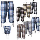Mens 3/4 Check Cargo Combat Beach Summer Holiday SIX Pocket Shorts Sizes S-XXXL.
