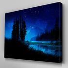 C055 River Bank Night Scenery Canvas Wall Art Ready to Hang Picture Print