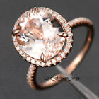 Morganite Engagement Promise Ring,.40ct Diamond,Oval Cut 10x12mm,14K Rose Gold