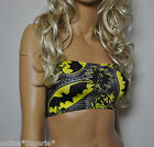 BLACK YELLOW COMIC BATMAN BOOB TUBE STRAPLESS BANDEAU TOP CLUB PARTY DANCER W711