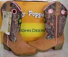 JOHN DEERE JOHNNY POPPERS CRAZY HORSE BROWN MOSSY OAK CAMO PINK BOOTS JD2246 NEW