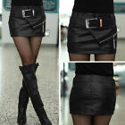 Women Sexy Black Shinny Wet Look Faux Leather Short Mini Skirt Dress With Belt