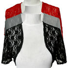 New Plain Lace & Sequins Beading Beaded Lace Shrug Bolero Shaw Cardigan